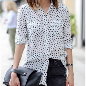Who What Wear Button Up Polka Dot Blouse